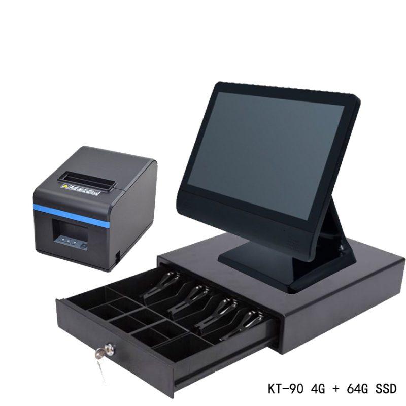 触屏餐饮收银电脑套装 包含触屏主机 小票打印机 钱箱